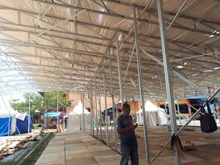 Pemasangan Rangka atap baja ringan untuk Aula lebih cepat hemat dan tahan lama