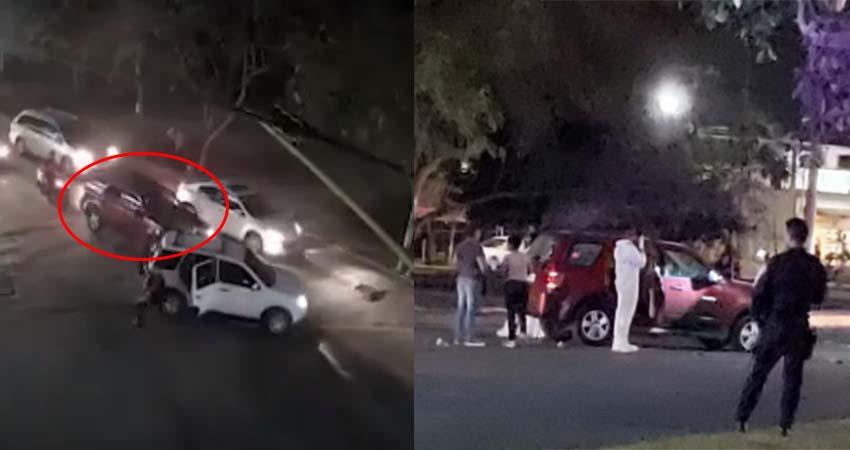 VÍDEO: Captan momento en que Sicarios interceptan y atacan a tiros camioneta donde viajaban agentes de la policía en Cancún