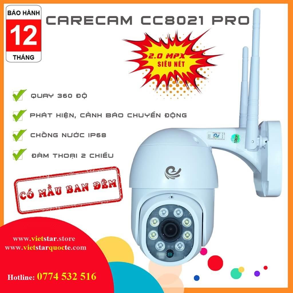 Camera WIFI Carecam Ngoài Trời CC8021Pro Nhận Diện Khuân Mặt,Quay 360 Độ,Đàm Thoại 2 Chiều,Cảnh Báo Đột Nhập Thông Minh