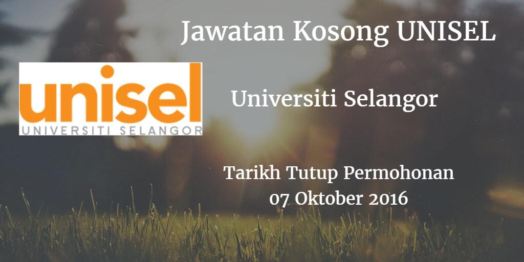 Jawatan Kosong UNISEL 07 Oktober 2016