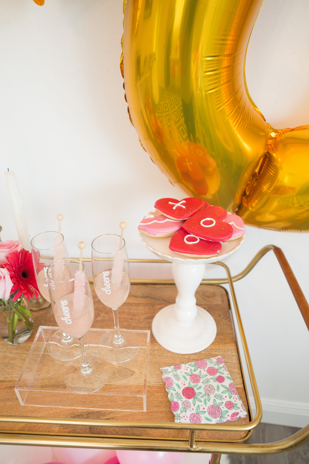 Galentines Day Bar Cart  by popular South Florida party blogger Celebration Stylist