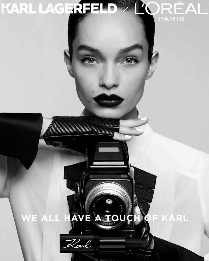 Luma Grothe appears in L'Oréal Paris x Karl Lagerfeld makeup campaign