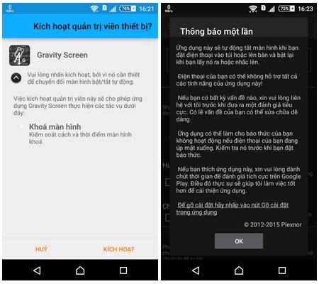 Gravity Screen phần mềm tắt/mở màn hình điện thoai không cần dùng