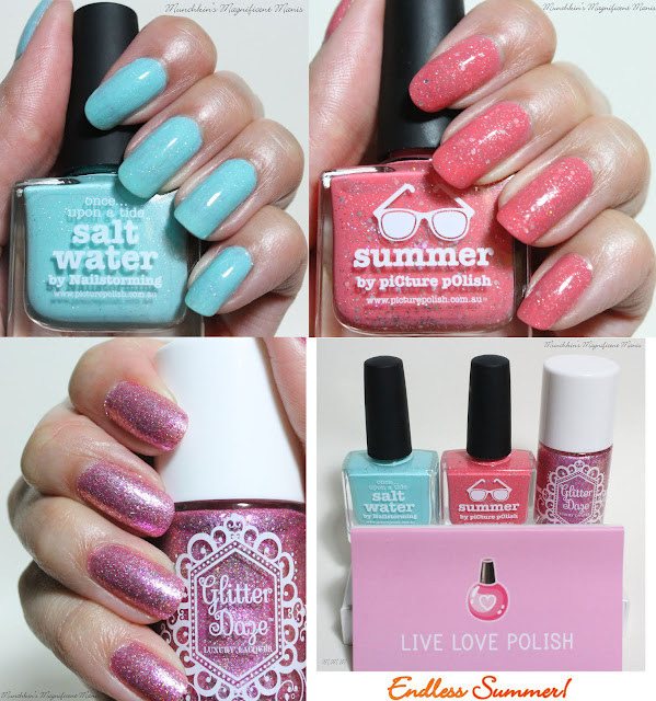 Picture Polish Salt Water and Summer, and Glitter Daze Let's have a Waikiki.