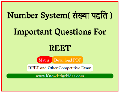 Number System( संख्या पद्दति ) Important Questions For REET
