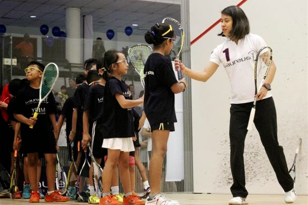 Nicol David during a coaching clinic for the Laureus World Sports Awards