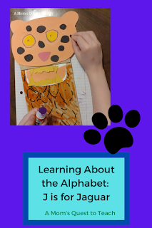 Text: Learning About the Alphabet: J is for Jaguar; A Mom's Quest to Teach; craft of jaguar; pawprint