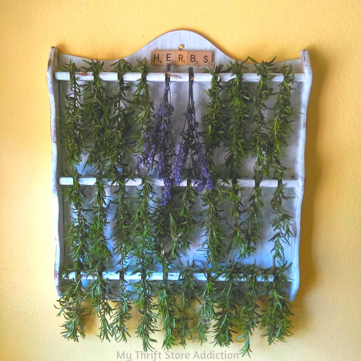 vintage spoon display repurposed herb drying rack
