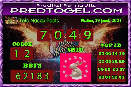 Pred Macau rabu 16 juni 2021