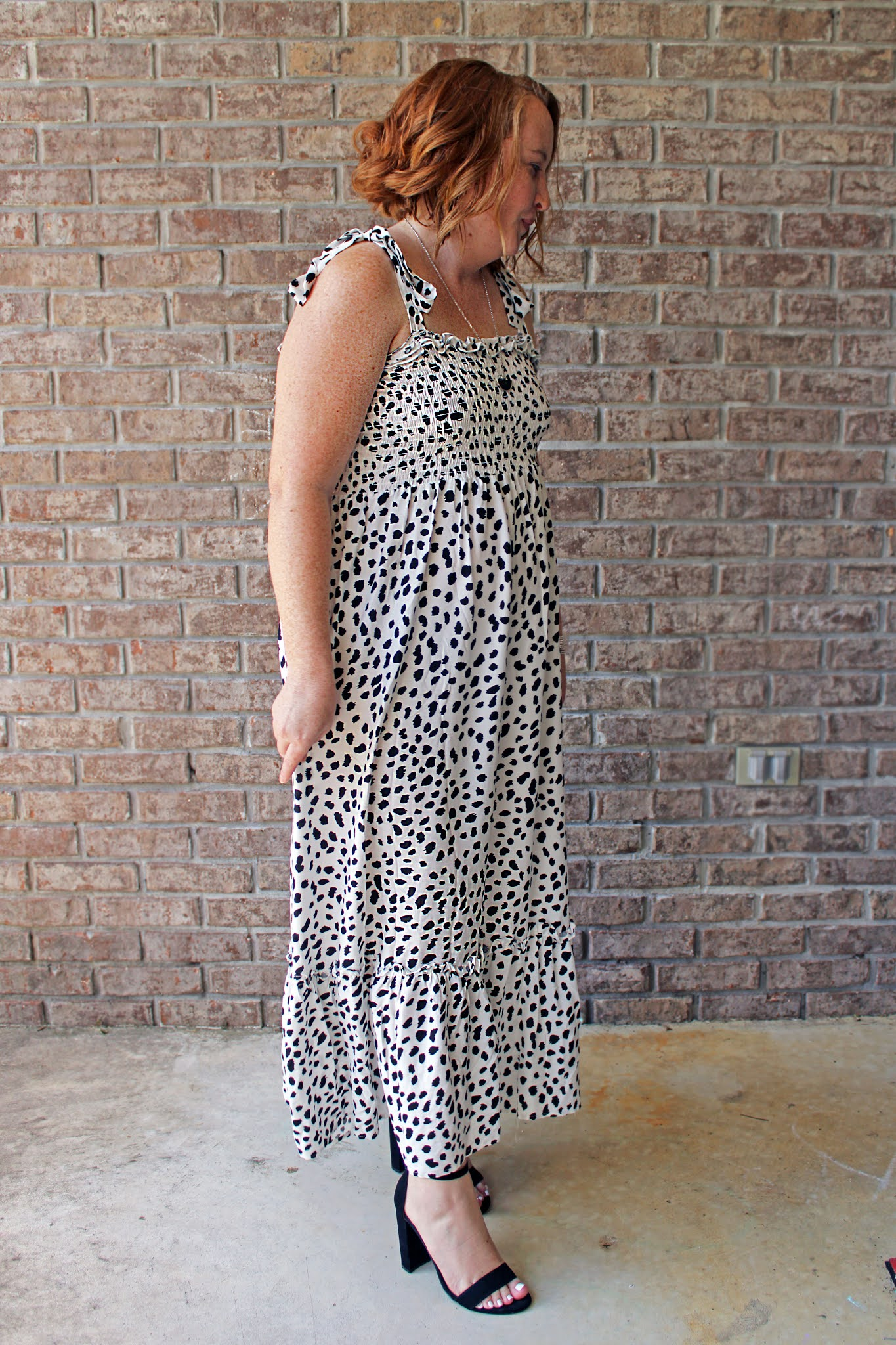 dalmation tie strap maxi dress