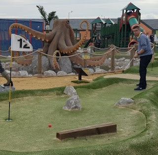 An octopus on the Pirate Island Adventure Golf course at Lyons Robin Hood Holiday Camp in Rhyl