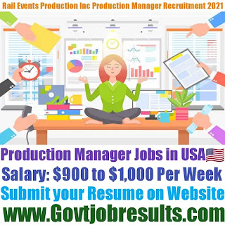 Rail Events Productions Inc Production Manager Recruitment 2021-22