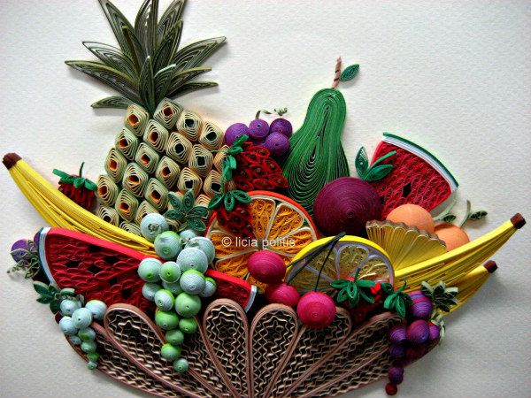 colorful quilled fruit bowl