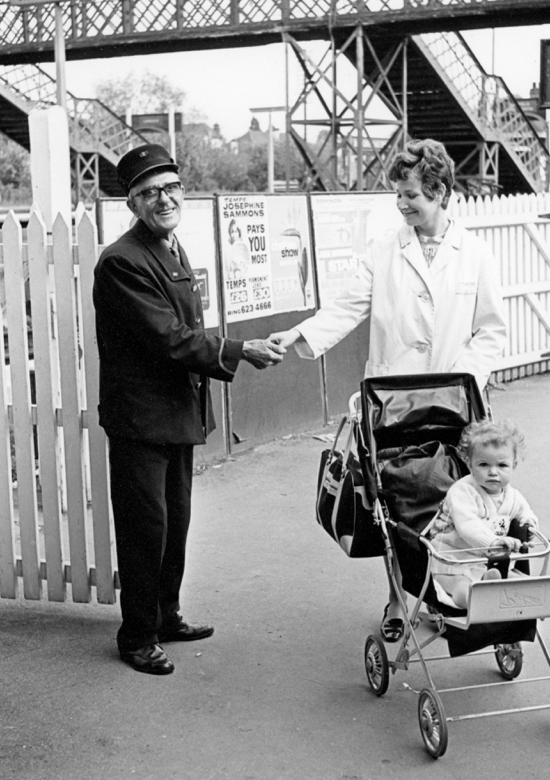 Photoraph of Ernie Wicks, May 22, 1969, booking hall clerk and porter at Brookmans Park Station. Ernie retired on June 14, 1969, having served on the railway for 23 years, the last eleven at Brookmans Park