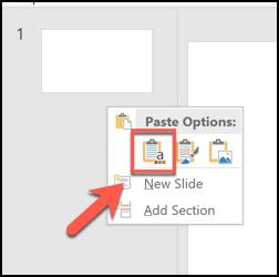 """اضغط على خيار لصق """"استخدام سمة الوجهة"""" للصق الشرائح وتطبيق تنسيق ملف PowerPoint المفتوح عليها"""