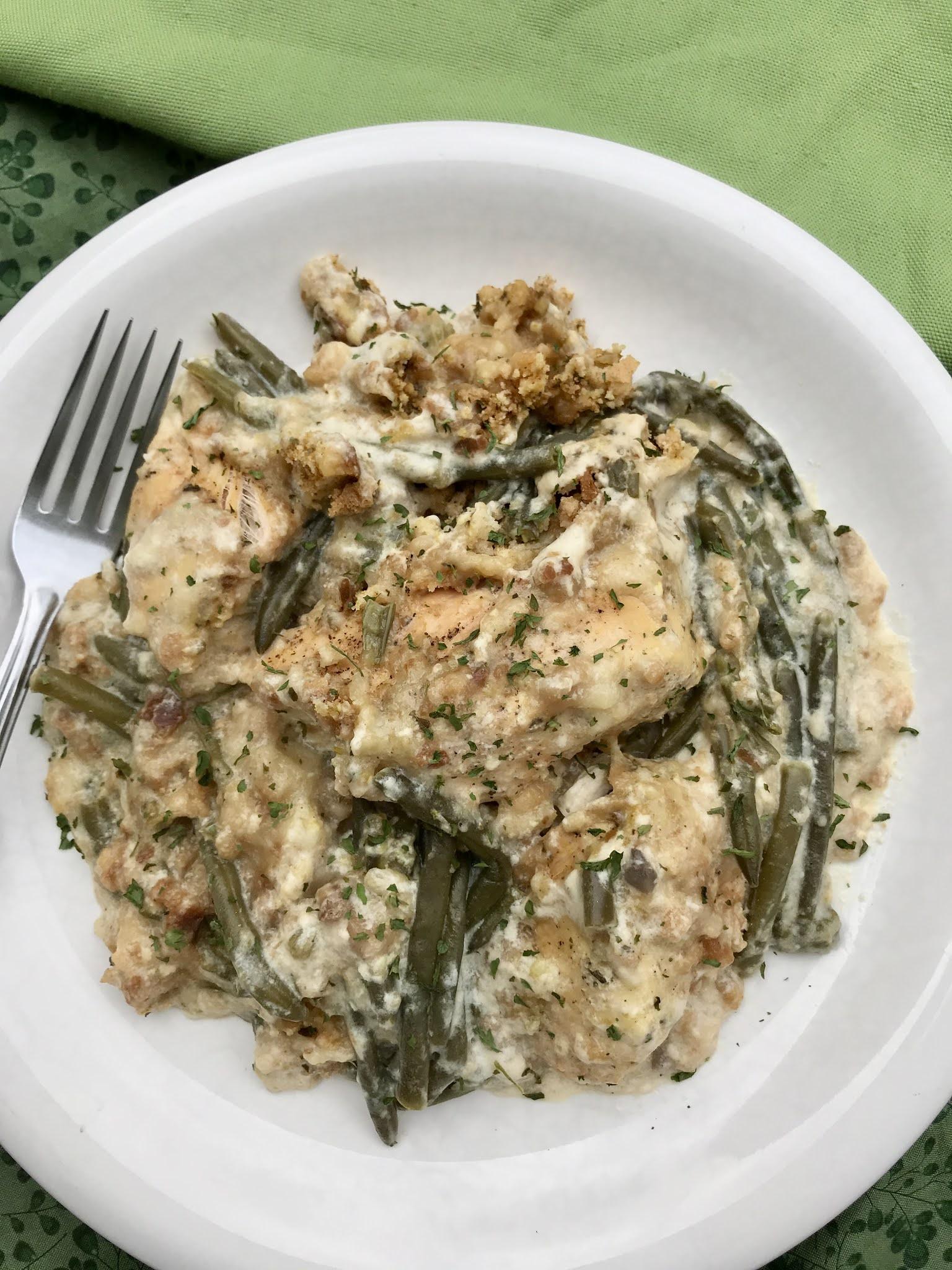 Slow Cooker Chicken, Stuffing, & Green Beans Dinner