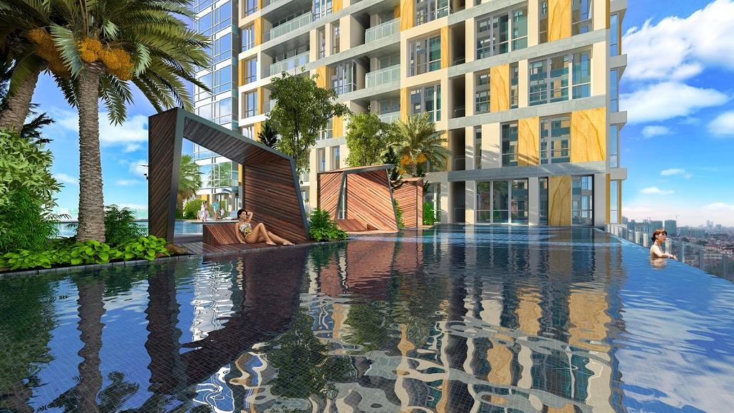 Bể bơi nngoaif trời tại dự án Goldseason 47 Nguyễn Tuân