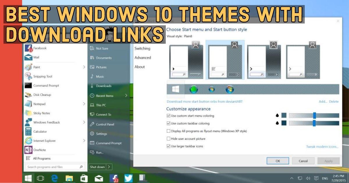 best windows themes for windows 10
