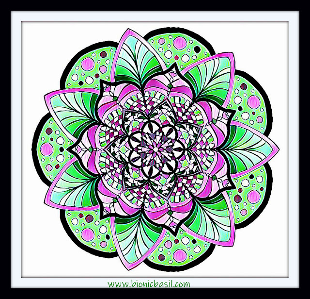 Mandalas on Monday ©BionicBasil® Colouring With Cats Mandala #124 coloured by Cathrine Garnell