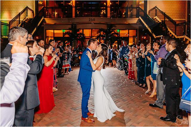 wedding reception bubble exit
