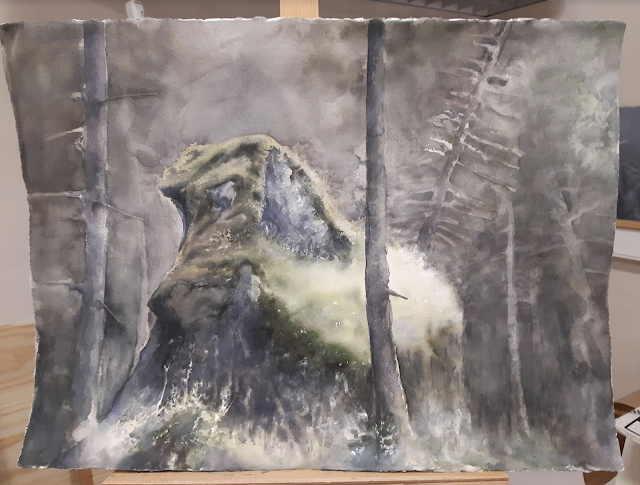 painting of a rock in a forest by adam stolterman