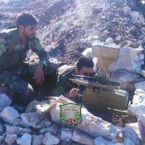 Μέλη της οργάνωσης Fawj Abu al-Harith 313 με Α-Τ πύραυλο Fagot/Konkurs