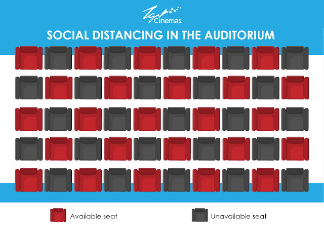 penjarakkan sosial dengan kerusi selang satu di dalam panggung wayang