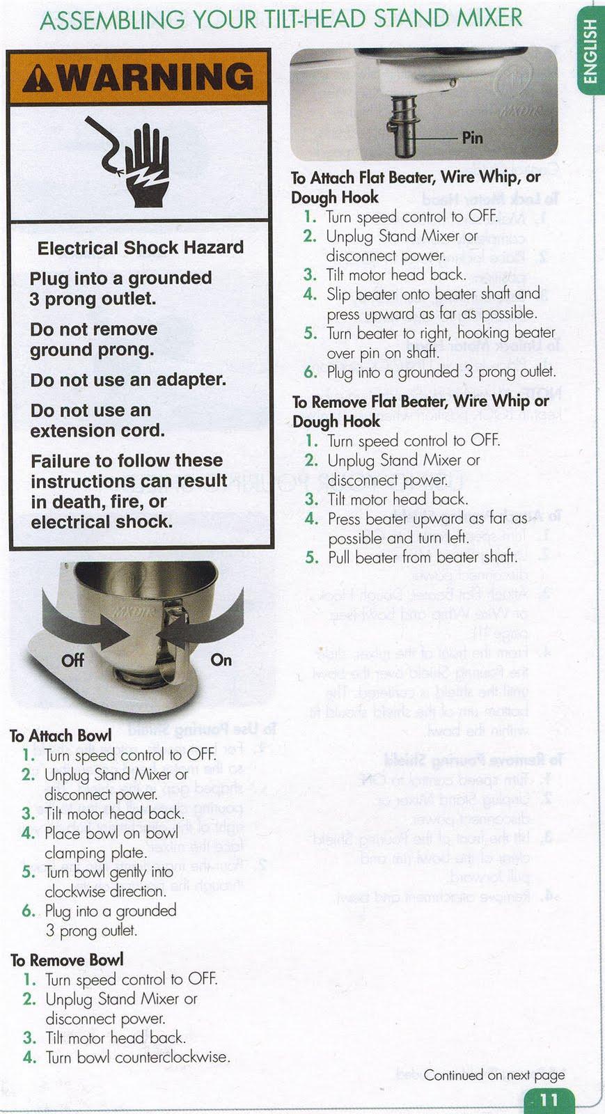 kitchenaid stand mixer instructions manual