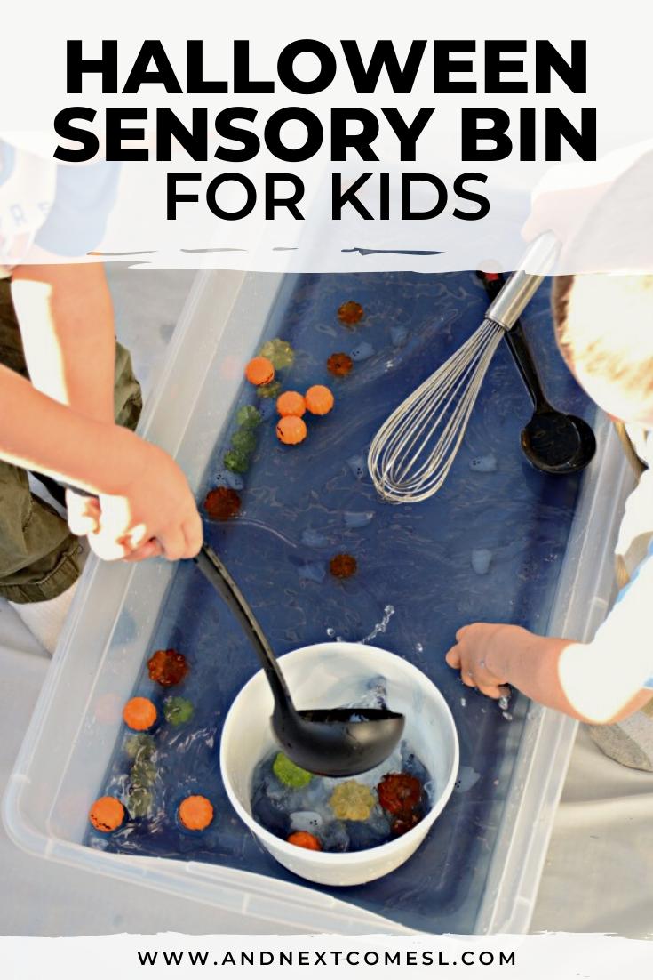 Halloween sensory bin for toddlers and preschoolers