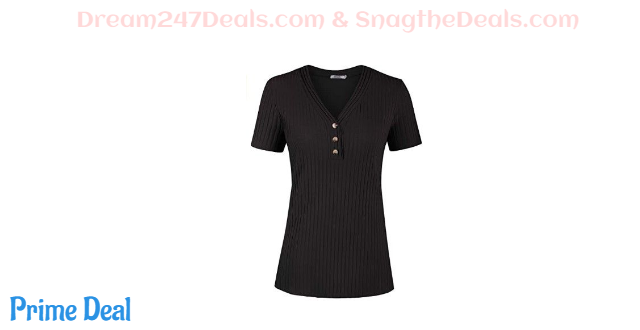 50% off Women's Button V Neck Short Sleeve Shirt Tunic Casual Knit Sweater Blouse Top