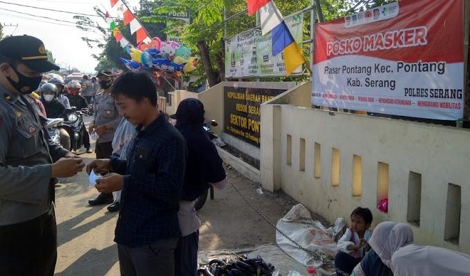 Masa PPKM Level 3, Polres Serang Gelar Posko Masker di Tujuh Titik Pasar