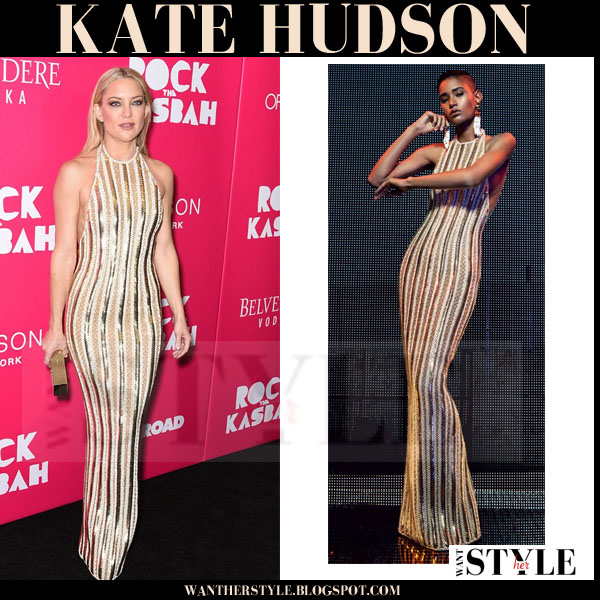 Kate Hudson In Gold Striped Balmain Gown Red Carpet What She Wore