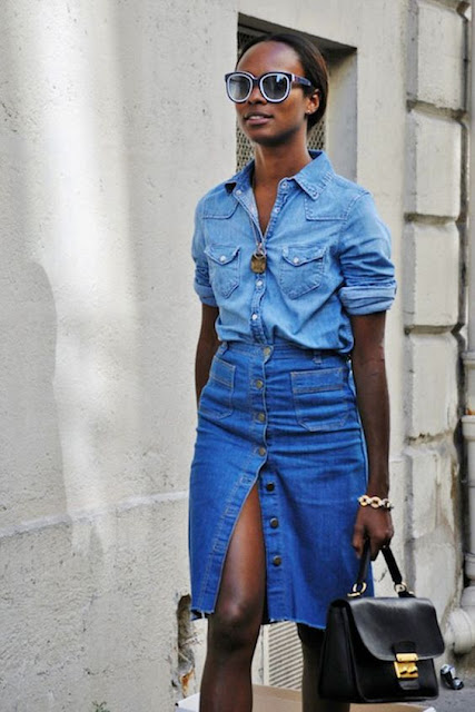 Saia Jeans Midi Botões