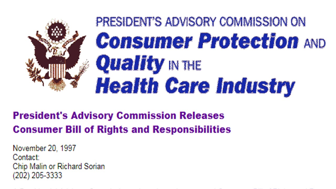 Consumer Bill of Rights and Responsibilities – 20 Years Later