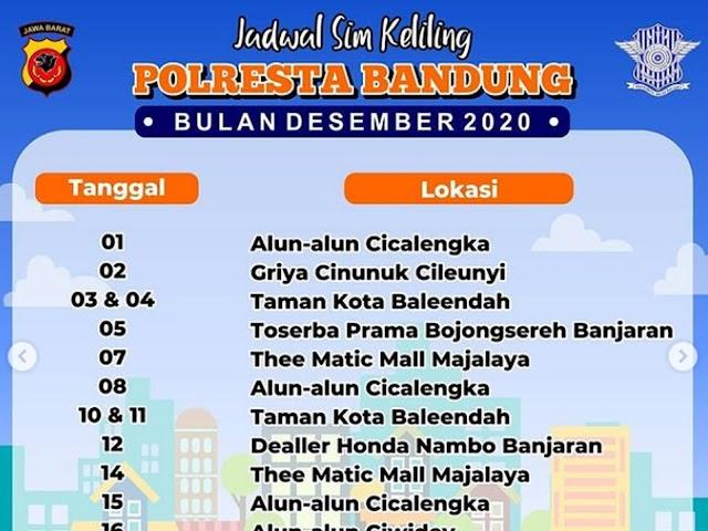 Jadwal Lengkap Layanan SIM Keliling Polresta Bandung Bulan Desember 2020