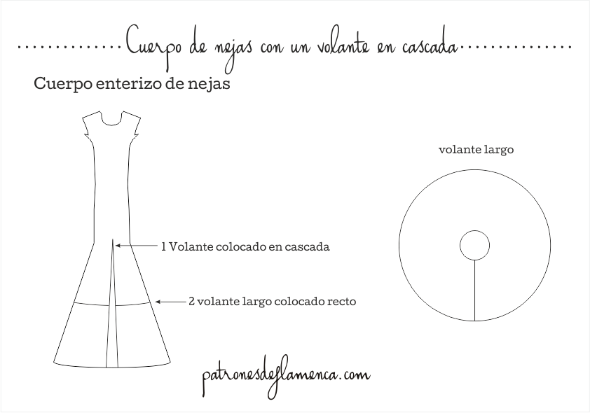 Dibujo técnico cuerpo de nejas con volante en cascada