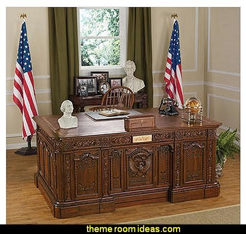 Oval Office Presidents' H.M.S. Resolute Desk   patriotic stars and stripes Americana theme decorating ideas