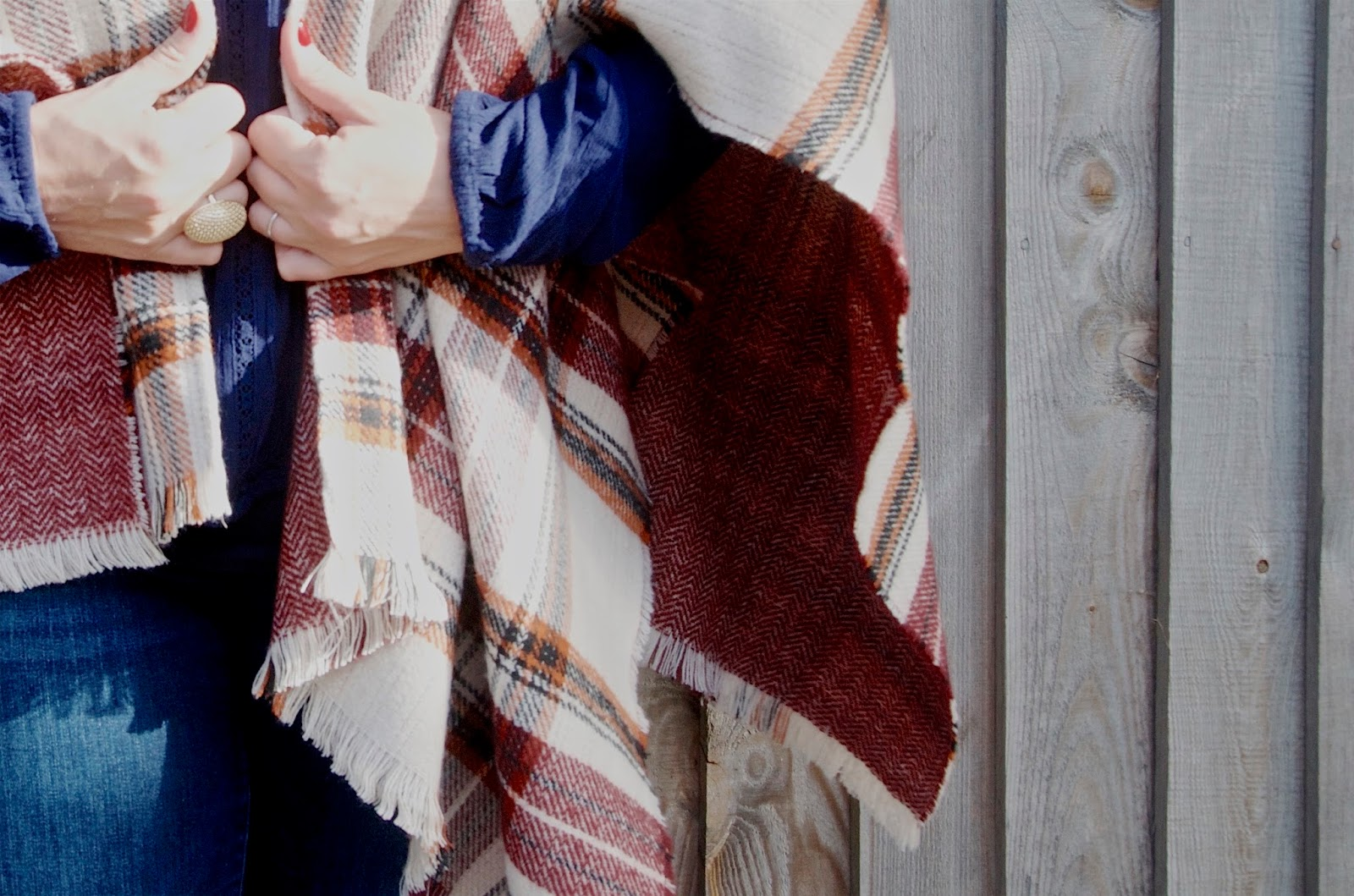 Herringbone and plaid reversible cape with gold ring