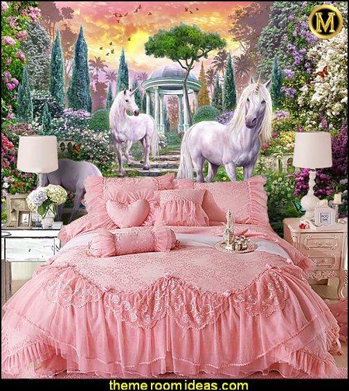 unicorn wall murals princess pink lace bedding  unicorn bedroom decor