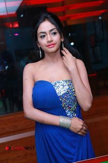 Actress Pooja Sree Pictures in Blue Long Dress at Chocolate Boy Friendship Day Event  0118.JPG