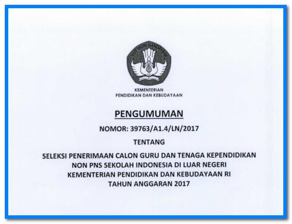 Surat Resmi Kemdikbud Seleksi Calon Guru Dan Tenaga Pendidik Non PNS  Ke Luar Negeri tahun 2017