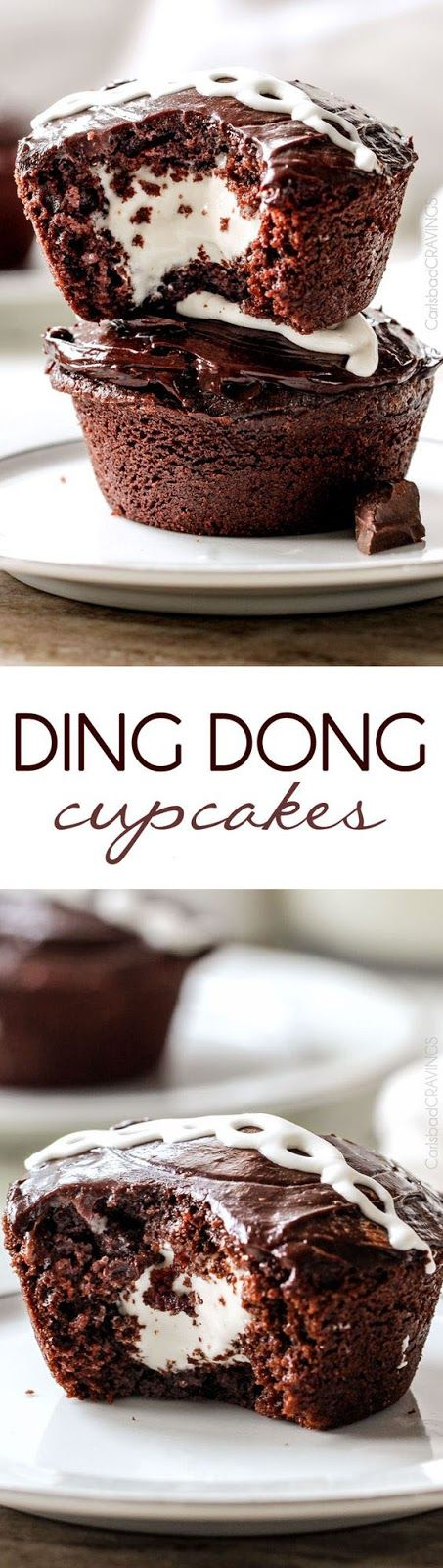 Ding Dong Cupcakes are rich, moist and chocolaty stuffed with creamy marshmallow filling and smothered in a silky chocolate ganache!  You will never want to buy Ding Dongs from the store again!