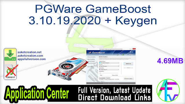 PGWare GameBoost 3.10.19.2020 + Keygen