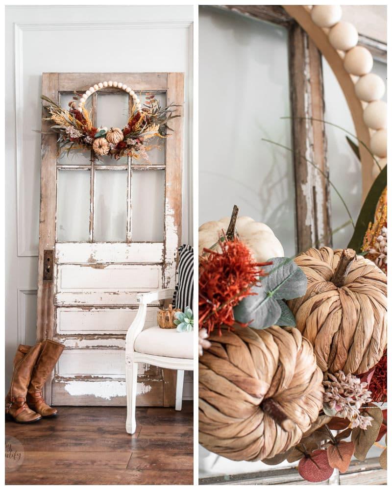 Fall wreath hanging on vintage chippy door