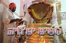 Information Details Nagoba Jatara is a tribals Gond adivasi pilgrimage event festival that got started in Adilabad District at Keslapur in Indervelli. State Govt recognized it as a main festival of Tribes.    పుష్య అమావాస్యరోజు.. లోకమంతా నలుపురంగు పులుముకుంటుంది.. అదే చీకటిలో వెలుగులు వెతుకుతారు ఆదివాసీలు! నిష్ఠగా నాగదేవునికి దీపారాధన చేసి పూజిస్తారు! పవిత్ర గంగాజలంతో అభిషేకిస్తారు! మూడురోజులపాటు కన్నులపండువగా జాతర నిర్వహిస్తారు! ప్రజాదర్బార్, బేటింగ్లతో సాగే జాతరే.. నాగోబా!