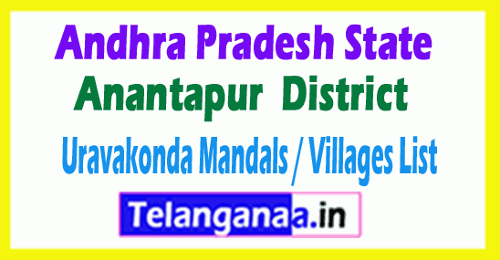 Uravakonda Mandal Villages Codes Anantapur District Andhra Pradesh State India