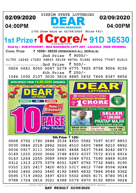 Lottery Sambad Today 02.09.2020 Dear Fortune Wednesday 4:00 pm