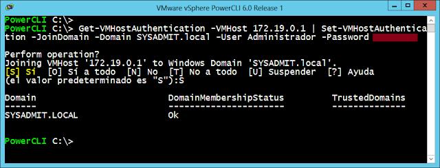 Vista PowerCLI, añadir ESXi al dominio