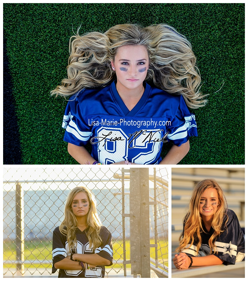 pretty blond teen in football jersey for powder puff pictures