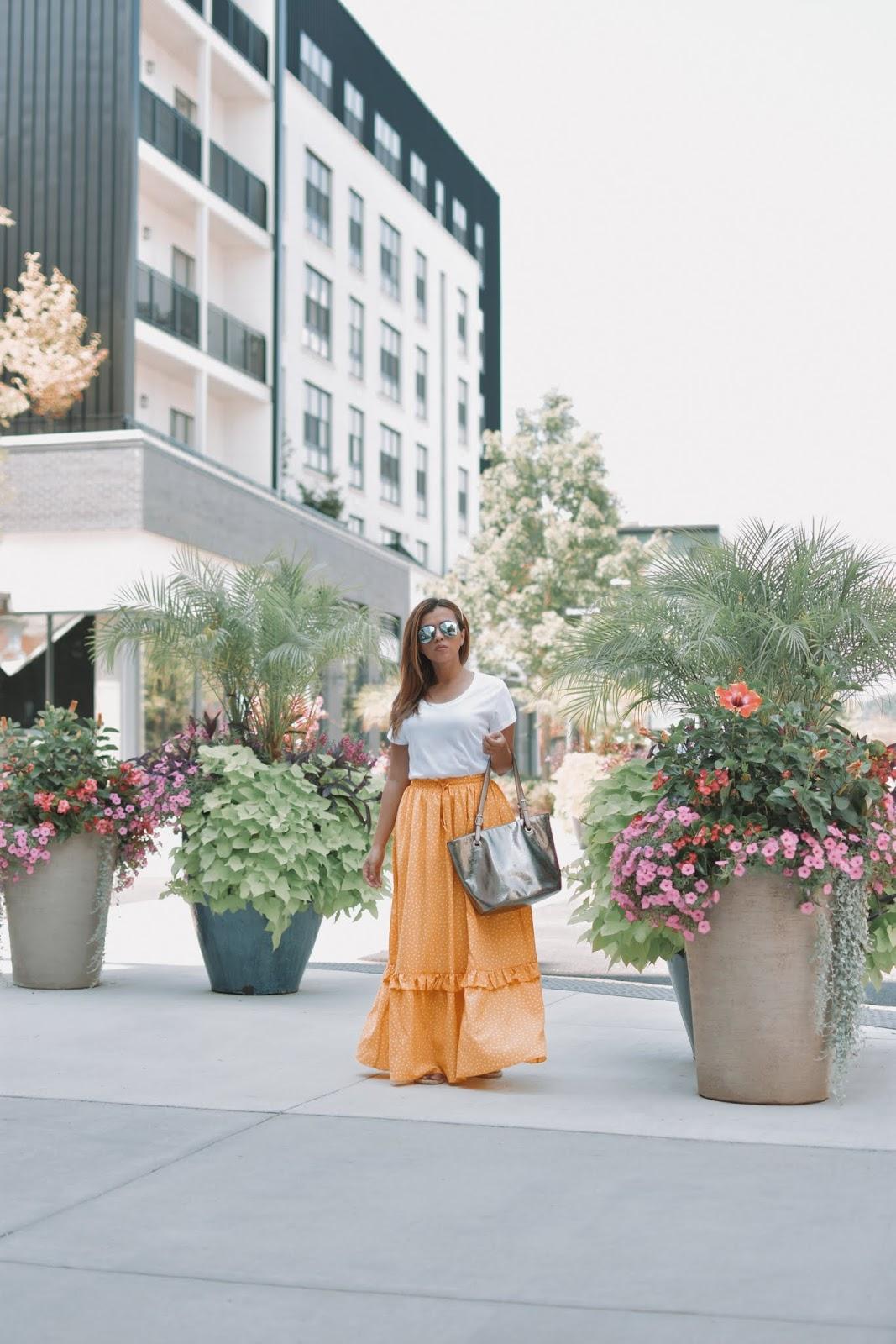 Como usar falda larga de polka dots by Mari Estilo-sheingals-dcblogger-fashionblogger-verano2019-outfits baratos-moda2019-